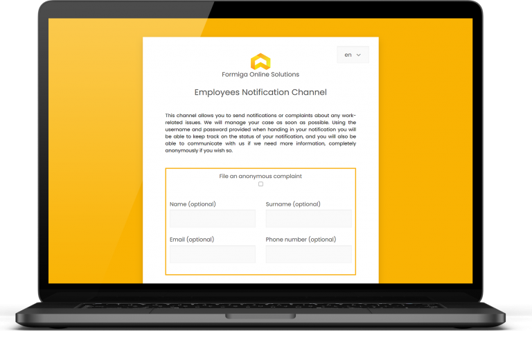Complaints form WhistleForm yellow background